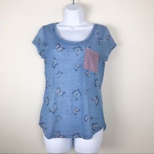Blue butterfly print shirt